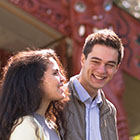 International students outside a marae
