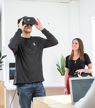Student using a virtual reality headset on a computing and IT course