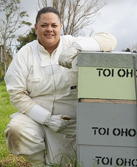 Aimee Lawrence with the hive she earned by completing the beekeeping course