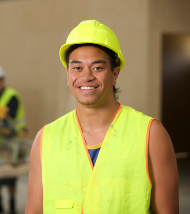 Construction student wearing high vis safety gear