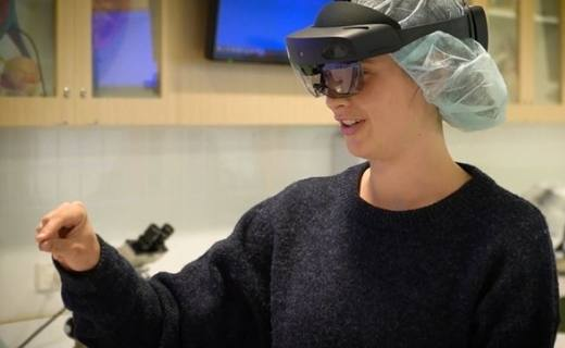 First-year nursing student wearing the HoloLens headset