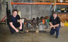 Apprentices Asher Lane and Joel Edmonds in the Bay of Plenty Gear Cutters workshop in Tauranga