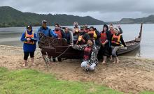 Social work students, including Cameron Te Wini and Tarn Kanara, got to take out a waka tete as part of their studies earlier this year