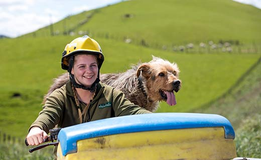 Agriculture student on quad bike with dog
